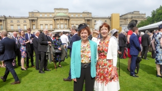 Adele Wilter and Christine Hillis at The Queen's Royal Garden Party